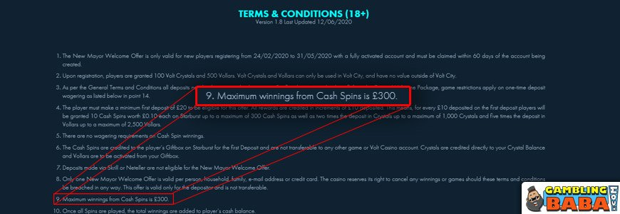 How a maximum cash out can be presented in wagering requirement terms and conditions