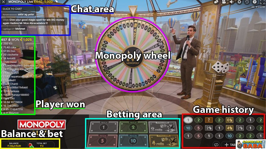 Monopoly live interface