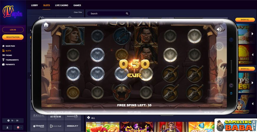 Play slots on your mobile at JVSpin