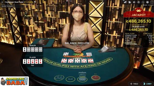Caribbean stud poker live jackpot