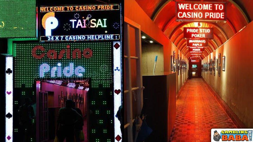 the entrance to casino pride