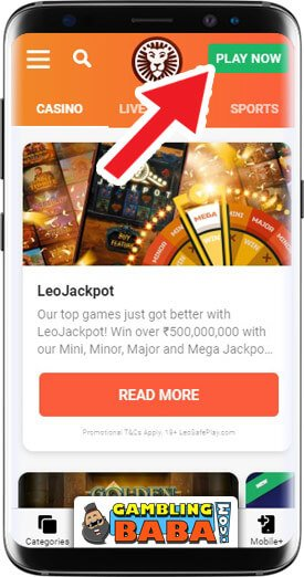 Click on the green play button in order to play at Leovegas