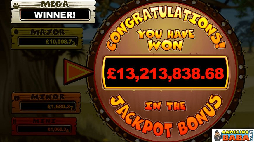 John Heywood's multimillion record win screen on mega moolah