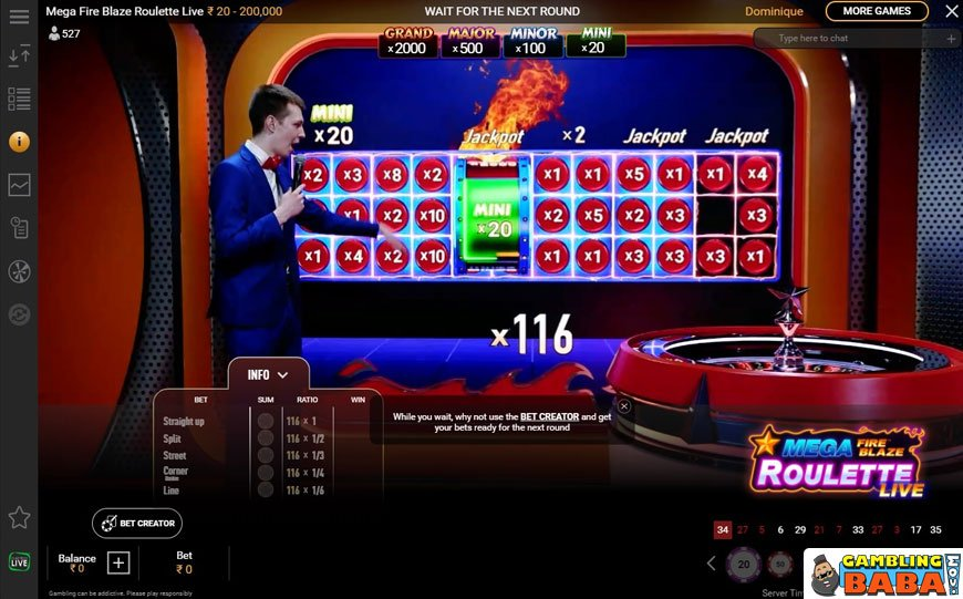 Overview of the table of roulette mega fire blaze roulette