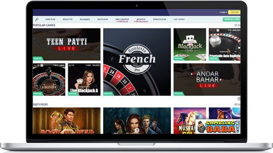 the selection of casino games you can play