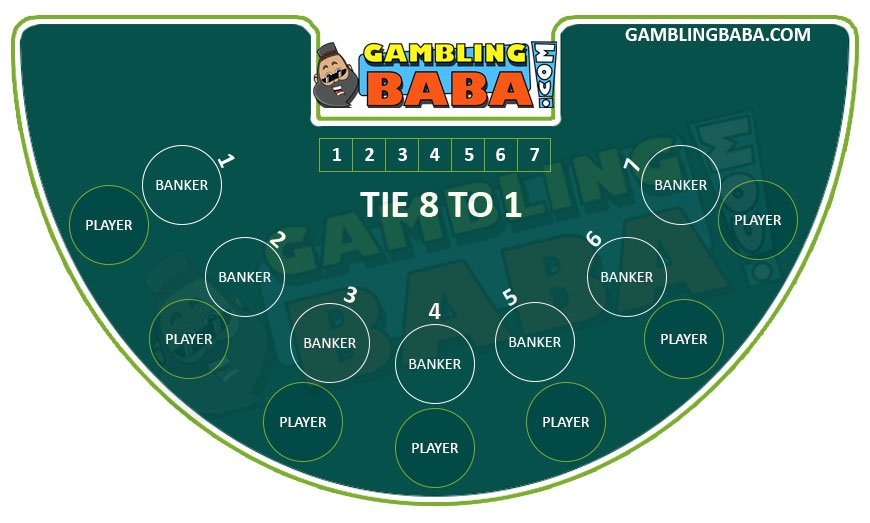 betting positions on a mini baccarat table